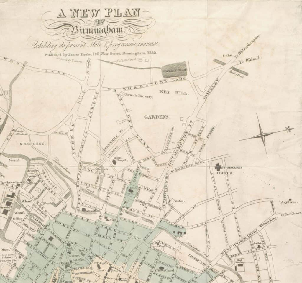 """A New Plan of Birmingham  Exhibiting its present state & progressive increase, published by James Drake, 123 New Street, Birmingham, 1825, Engraved by T. Simms, Birmingham. This map was firstpublished in 2The Picture of Birmingham"""" by James Drake in 1825."""