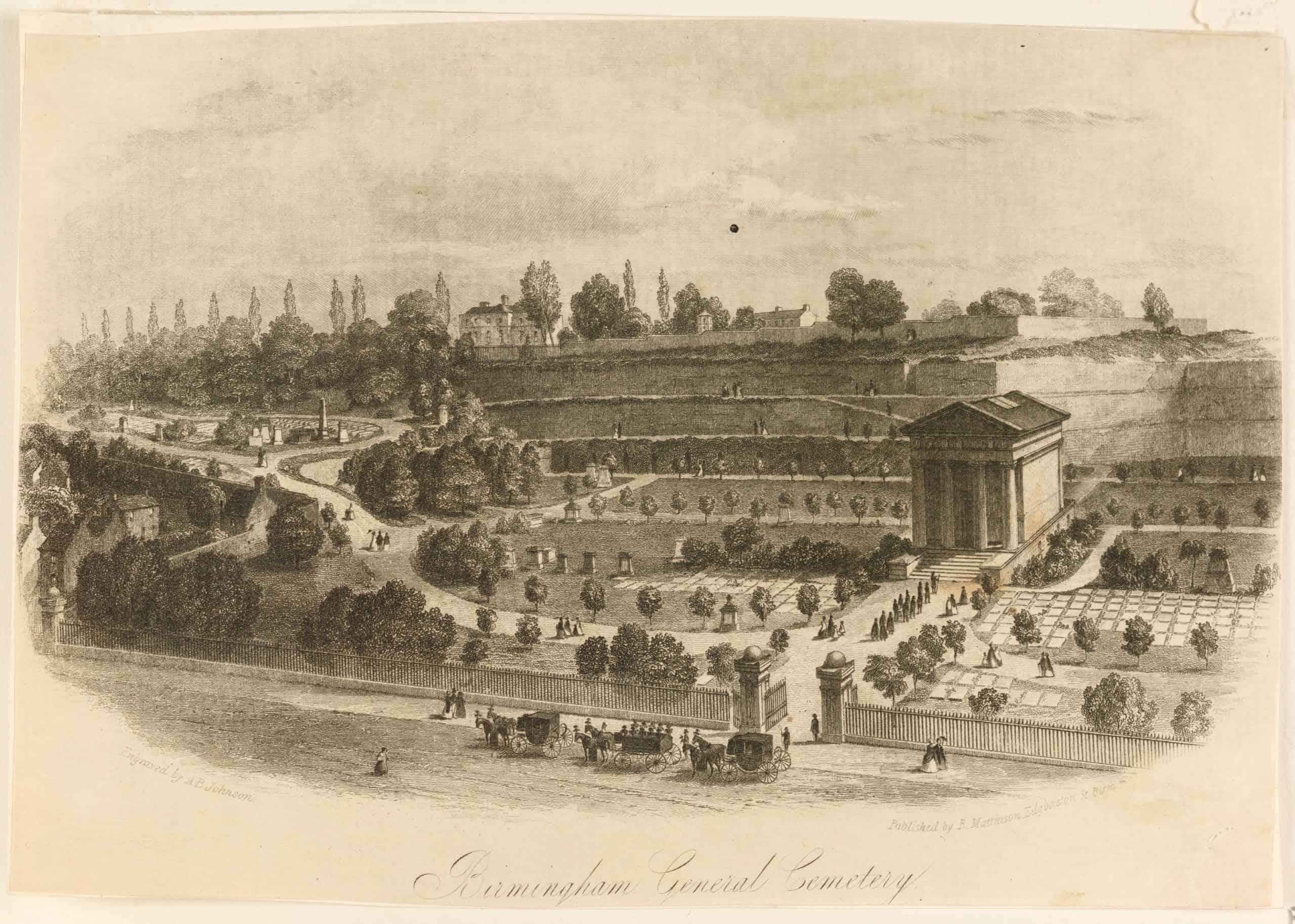 Engraving of Birmingham General Cemetery by A B Johnson (Birmingham Museums Trust)