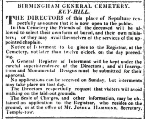 Birmingham Journal May 21 1836 (British Newspaper Archives, with thanks to Colin Giles)