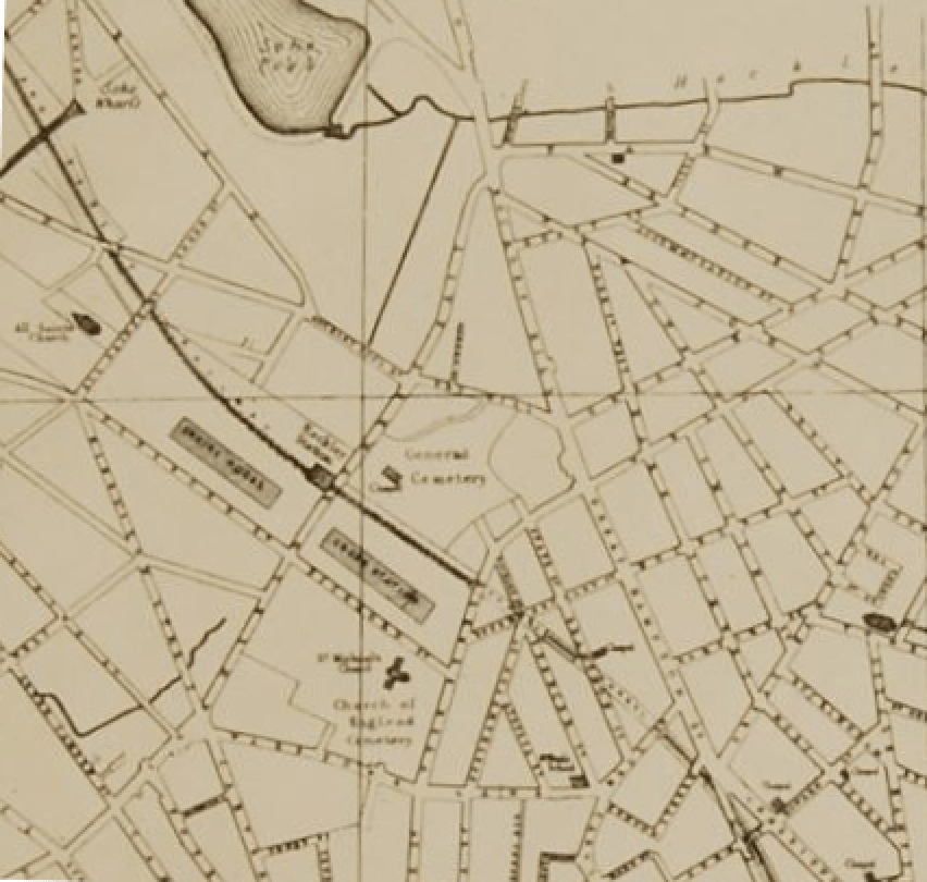 Detail from map of Birmingham by Pigott Smith, 1855 (Library of Birmingham