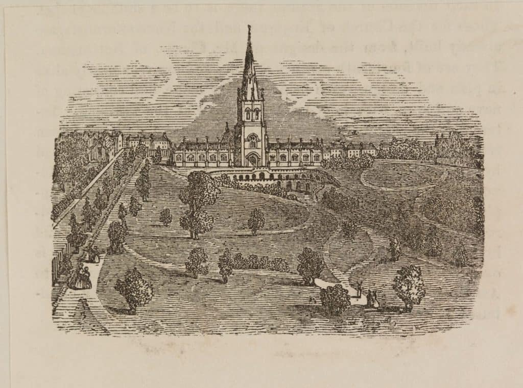 Engraving of St Michael's Cemetery, Birmingham (Birmingham Museums Trust)