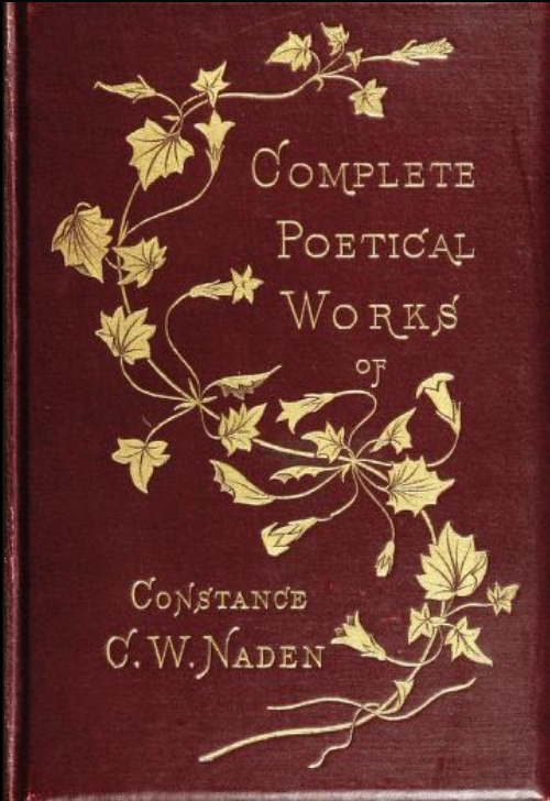 Red cover with golden floral decoration. Complete Poetical works of Constance Naden,