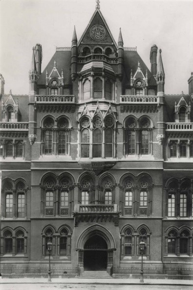 Black and White photo of tall Gothic building. Mason college in Victoria Square.