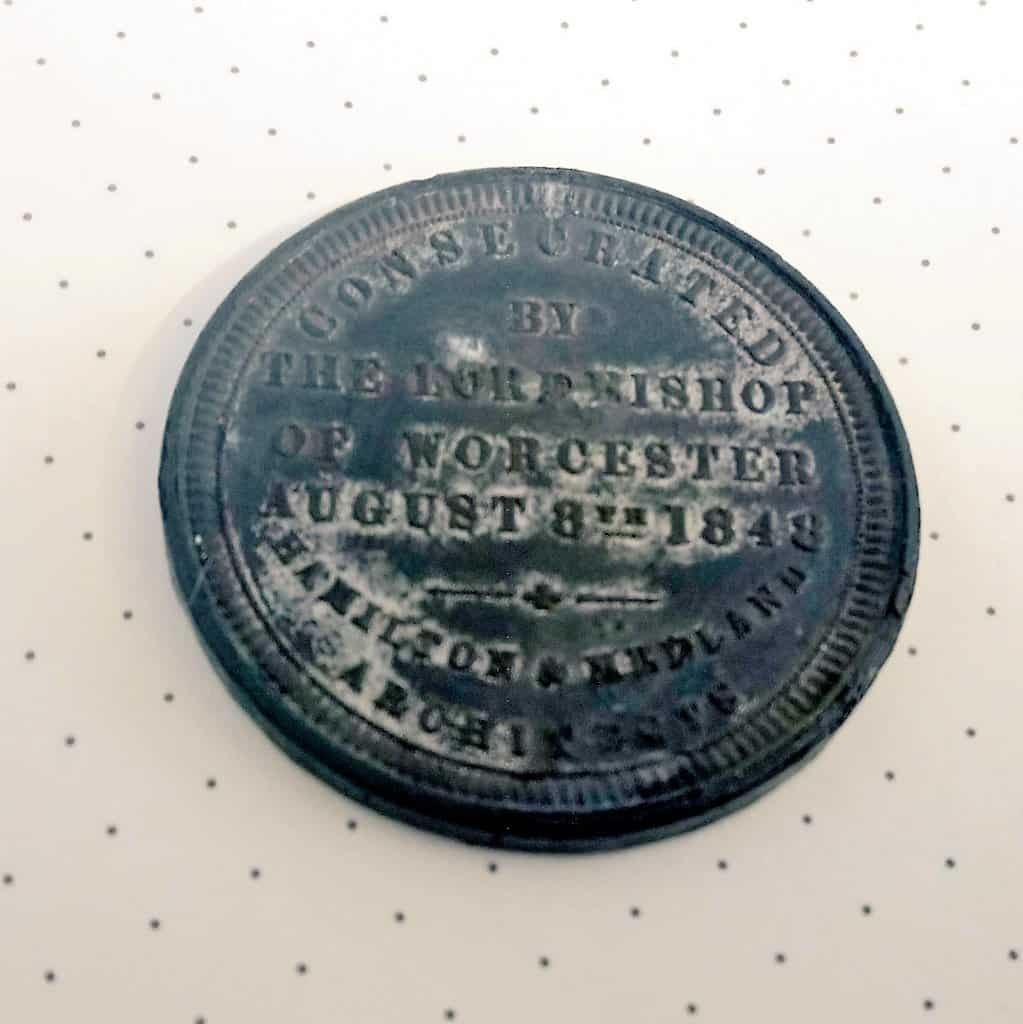 Back of medal cast to mark the consecration of the cemetery in 1848 (with thanks to Friends of Key Hill and Warstone Lane Cemetery)