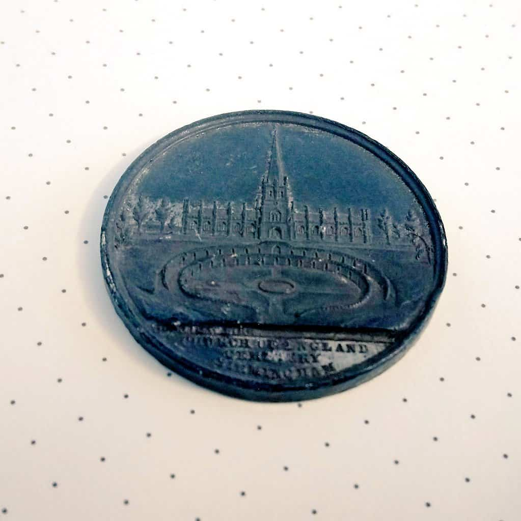 Front of medal cast to mark the consecration of the cemetery in 1848 (with thanks to Friends of Key Hill and Warstone Lane Cemetery)